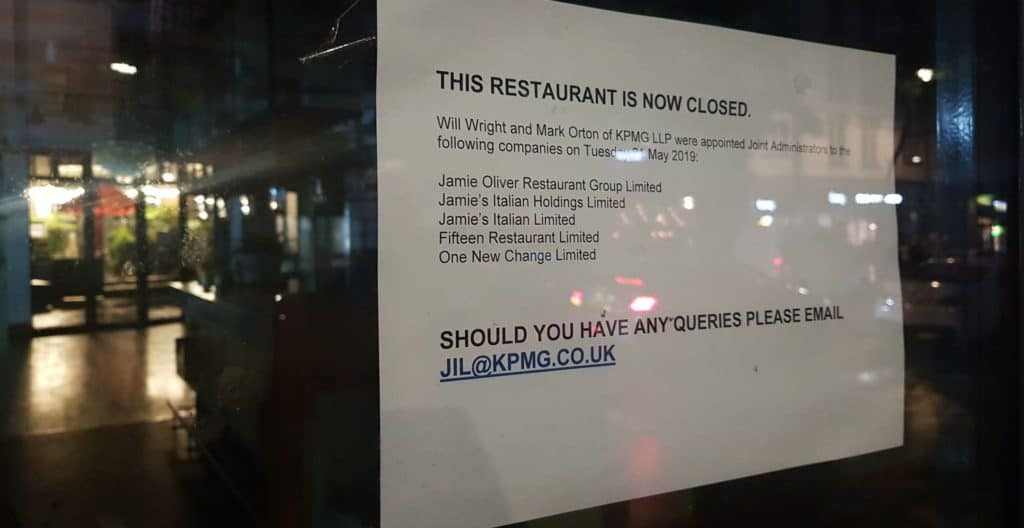 Notice of closure and administration for Jamie Oliver's high street chain: Jamie's Italian