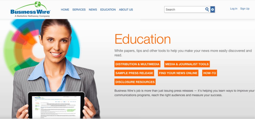 Home page of BusinessWire