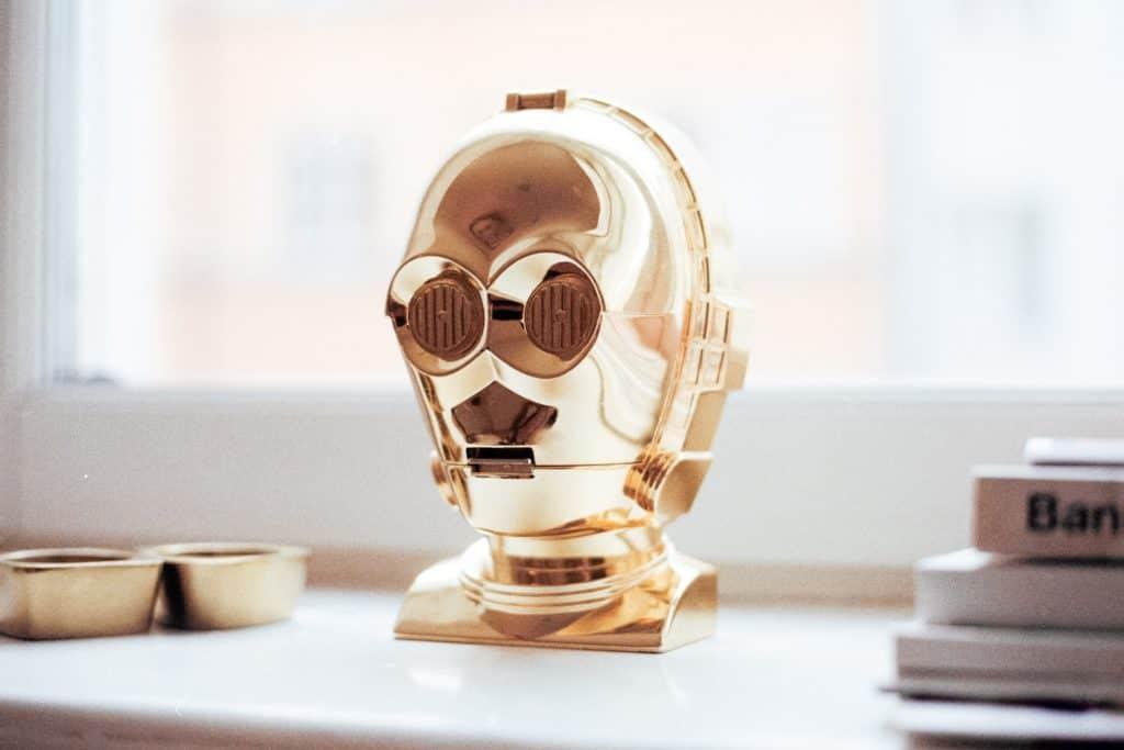 gold robot head