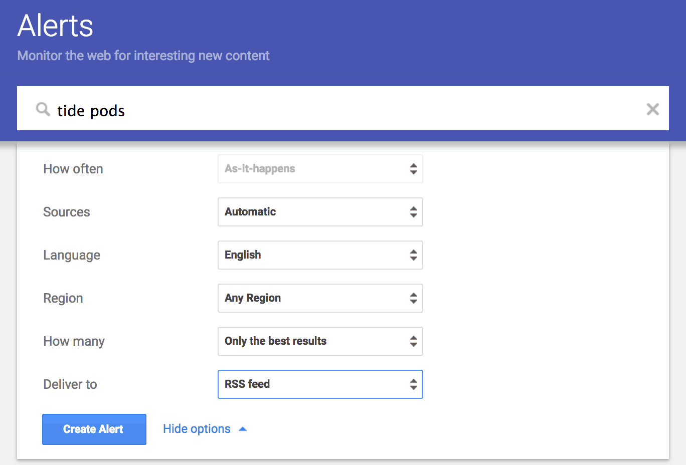 An screenshot of Google Alerts, a free PR media monitoring tool