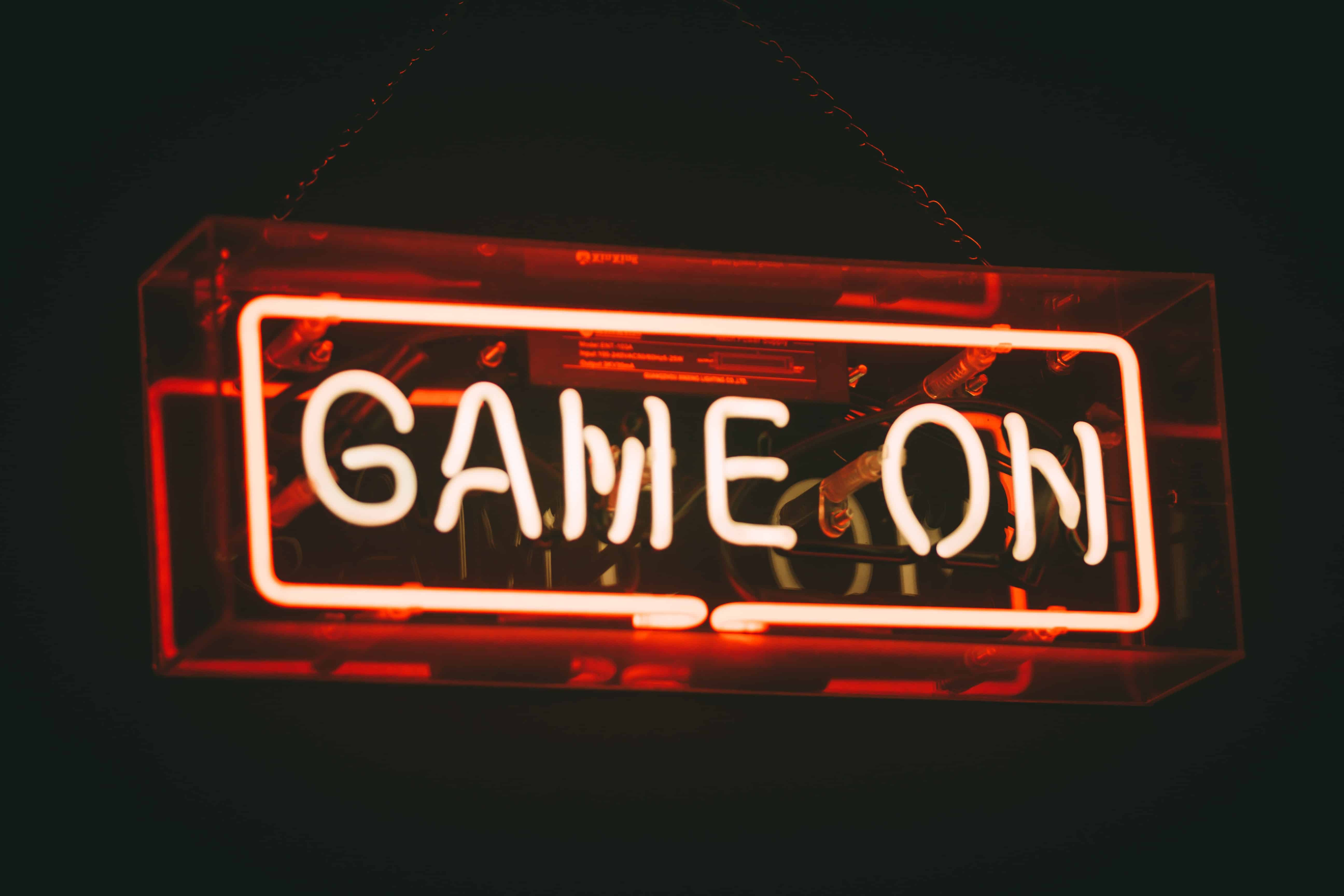 Image of a neon sign saying 'Game On'