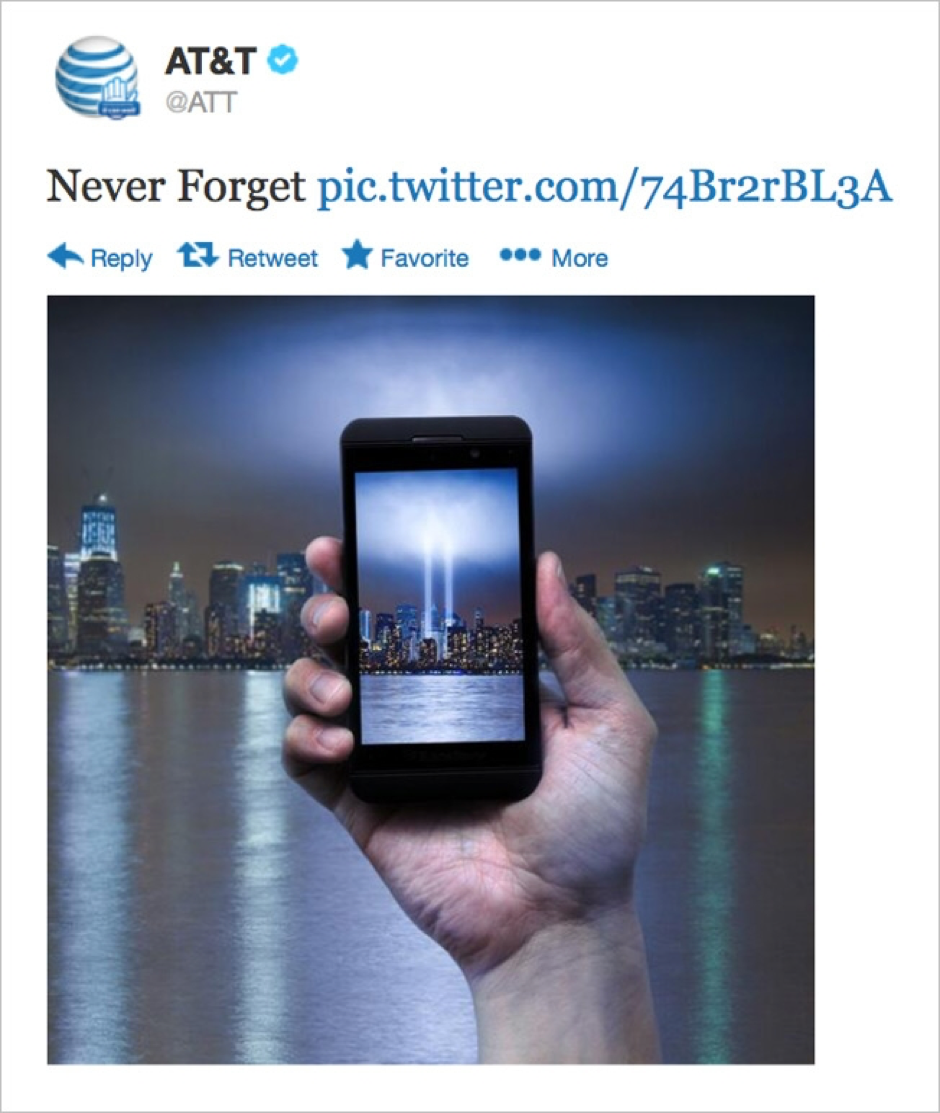 Body copy image of AT&T newsjacking tweet