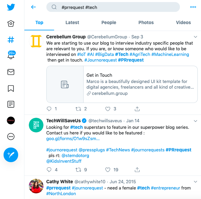 Image of a Twitter #PRrequest for the tech industry