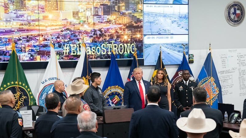 Hero image of Donald Trump in El Paso after the mass shooting